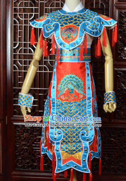 Chinese Traditional Beijing Opera Daomadan Blue Clothing Peking Opera Female Warrior Costumes for Women