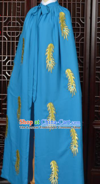 Chinese Traditional Beijing Opera Diva Blue Cape Peking Opera Princess Costumes for Women