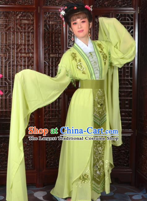 Chinese Traditional Beijing Opera Diva Light Green Dress Peking Opera Princess Costumes for Women