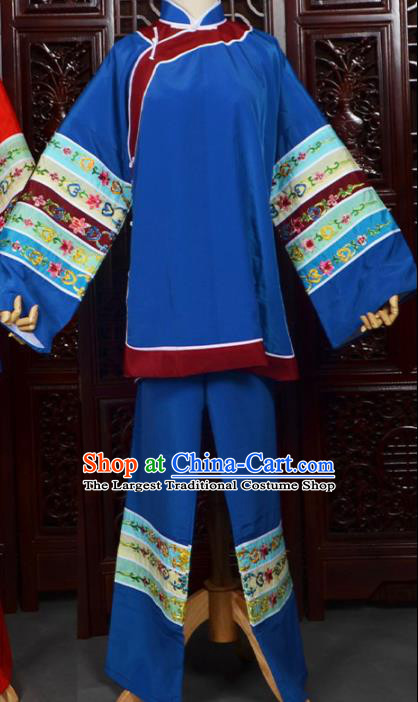 Chinese Traditional Beijing Opera Female Civilian Blue Dress Peking Opera Matchmaker Costumes for Women