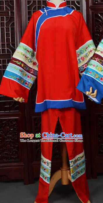 Chinese Traditional Beijing Opera Female Civilian Red Dress Peking Opera Matchmaker Costumes for Women