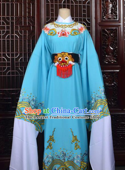 Chinese Traditional Beijing Opera Niche Blue Costumes Peking Opera Scholar Clothing for Men