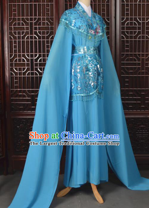 Chinese Traditional Beijing Opera Hua Dan Blue Dress Peking Opera Diva Costumes for Women