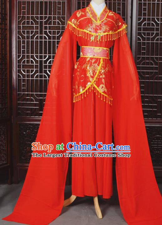 Chinese Traditional Beijing Opera Hua Dan Red Dress Peking Opera Diva Costumes for Women