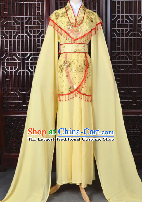 Chinese Traditional Beijing Opera Hua Dan Yellow Dress Peking Opera Diva Costumes for Women