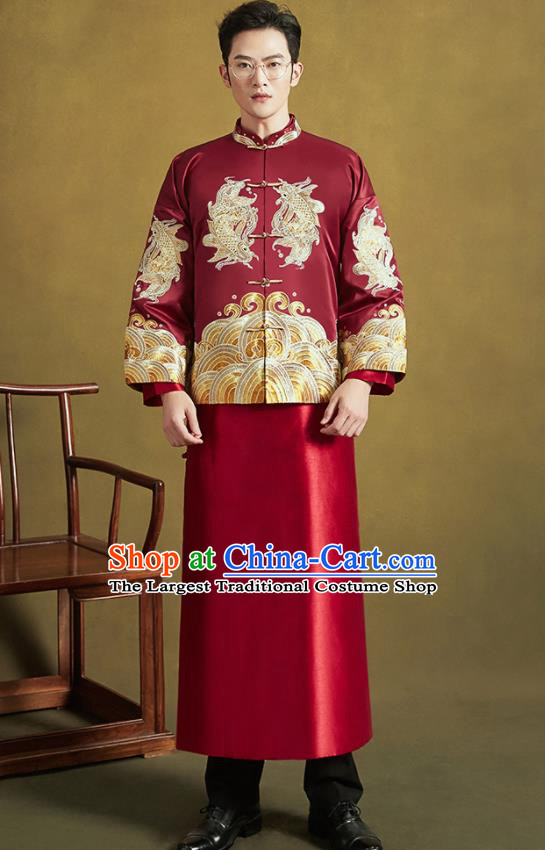 Chinese Traditional Wedding Tang Suit Costumes Ancient Bridegroom Embroidered Blouse and Long Gown for Men