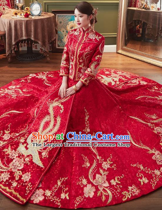 Chinese Traditional Xiu He Suit Ancient Wedding Red Dress Bride Embroidered Costumes for Women