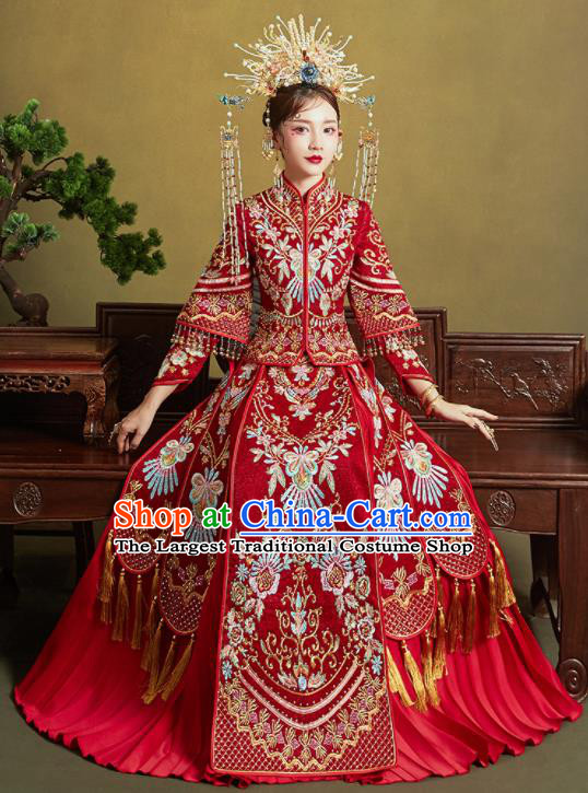 Chinese Traditional Embroidered Xiu He Suit Ancient Wedding Red Dress Bride Costumes for Women