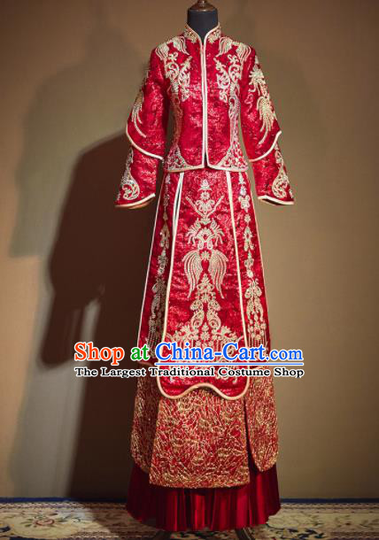Chinese Traditional Xiu He Suit Ancient Wedding Embroidered Red Dress Bride Costumes for Women