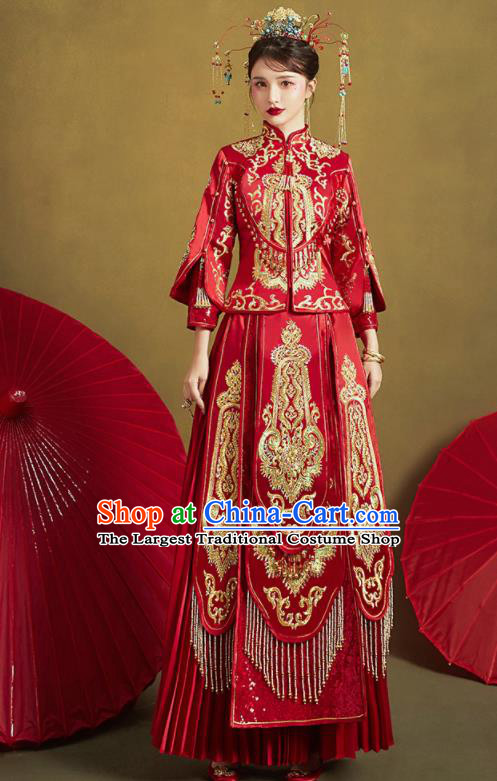 Chinese Traditional Red Xiu He Suit Embroidered Wedding Dress Ancient Bride Costumes for Women