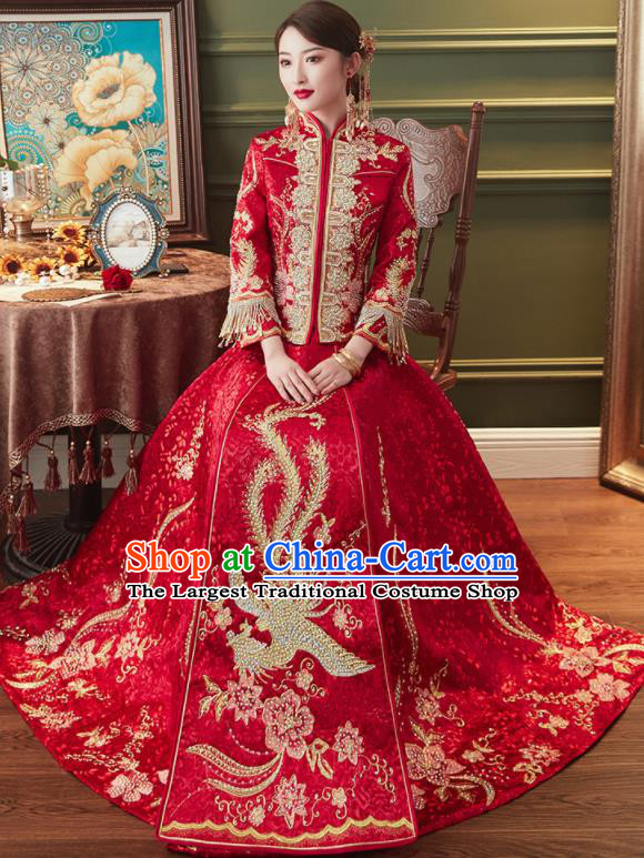 Chinese Traditional Embroidered Phoenix Drilling Red Xiu He Suit Wedding Dress Ancient Bride Costumes for Women