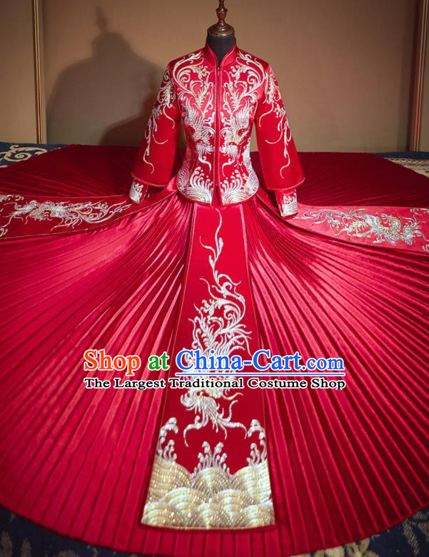 Chinese Traditional Embroidered Drilling Phoenix Red Xiu He Suit Wedding Dress Ancient Bride Costumes for Women