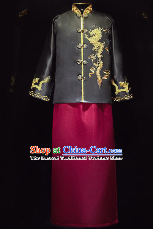 Chinese Ancient Bridegroom Embroidered Black Mandarin Jacket and Wine Red Long Gown Traditional Wedding Tang Suit Costumes for Men