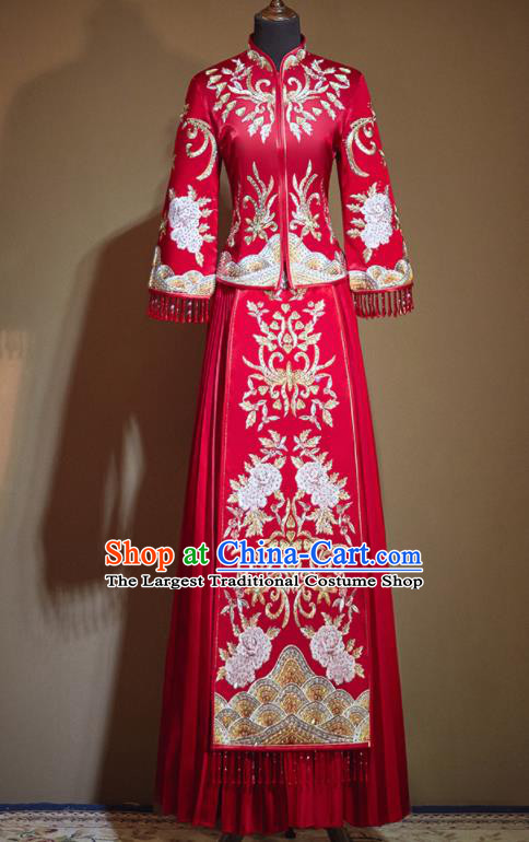 Chinese Traditional Embroidered Peony Drilling Red Xiu He Suit Wedding Dress Ancient Bride Costumes for Women