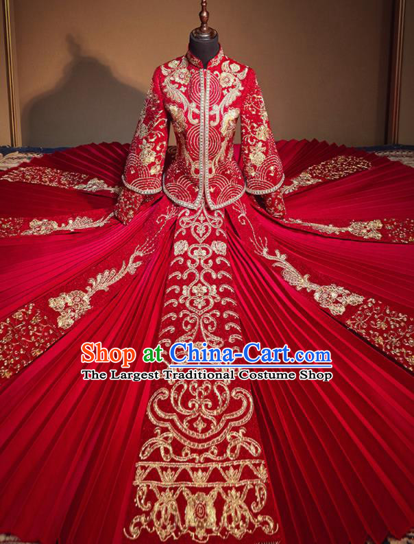 Chinese Traditional Drilling Red Xiu He Suit Embroidered Wedding Dress Ancient Bride Costumes for Women