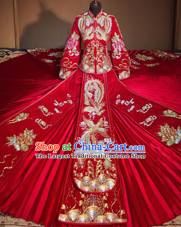 Chinese Traditional Drilling Red Xiu He Suit Embroidered Phoenix Wedding Dress Ancient Bride Costumes for Women