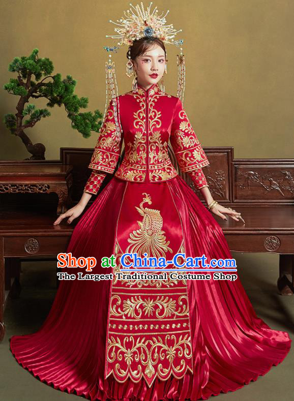 Chinese Traditional Red Xiu He Suit Embroidered Phoenix Wedding Dress Ancient Bride Costumes for Women