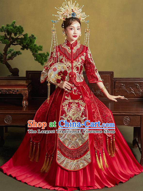 Chinese Traditional Red Xiu He Suit Embroidered Drilling Wedding Dress Ancient Bride Costumes for Women