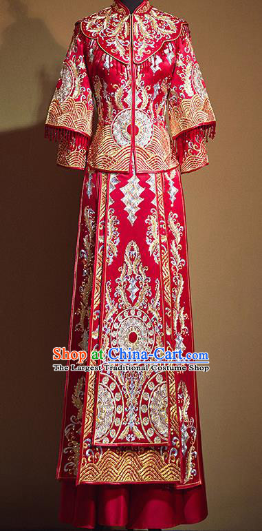 Chinese Traditional Diamante Embroidered Xiu He Suit Ancient Wedding Red Dress Bride Costumes for Women