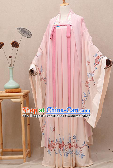 Chinese Ancient Tang Dynasty Nobility Lady Pink Hanfu Dress Traditional Court Princess Costumes for Women