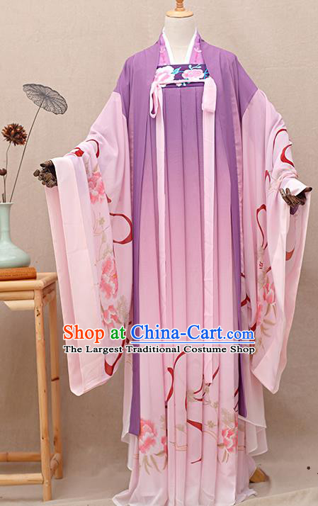 Chinese Ancient Tang Dynasty Nobility Lady Purple Hanfu Dress Traditional Court Princess Costumes for Women