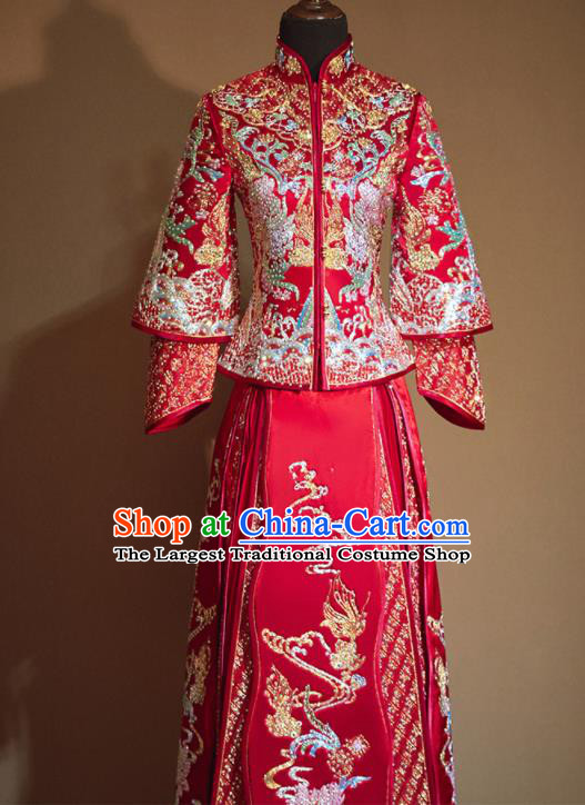 Chinese Traditional Embroidered Lotus Red Xiu He Suit Ancient Wedding Dress Bride Costumes for Women