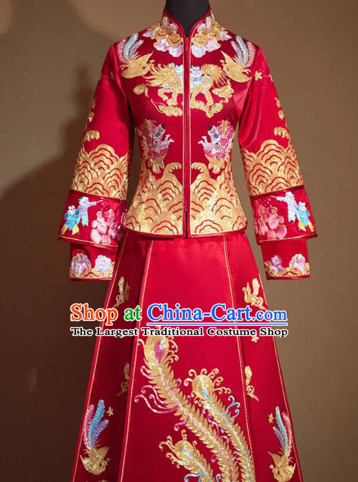 Chinese Traditional Embroidered Playing Boys Red Xiu He Suit Ancient Wedding Dress Bride Costumes for Women