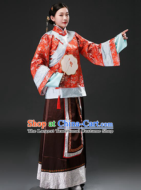 Chinese Ancient Qing Dynasty Nobility Concubine Red Blouse and Brown Skirt Traditional Patrician Mistress Costumes for Women