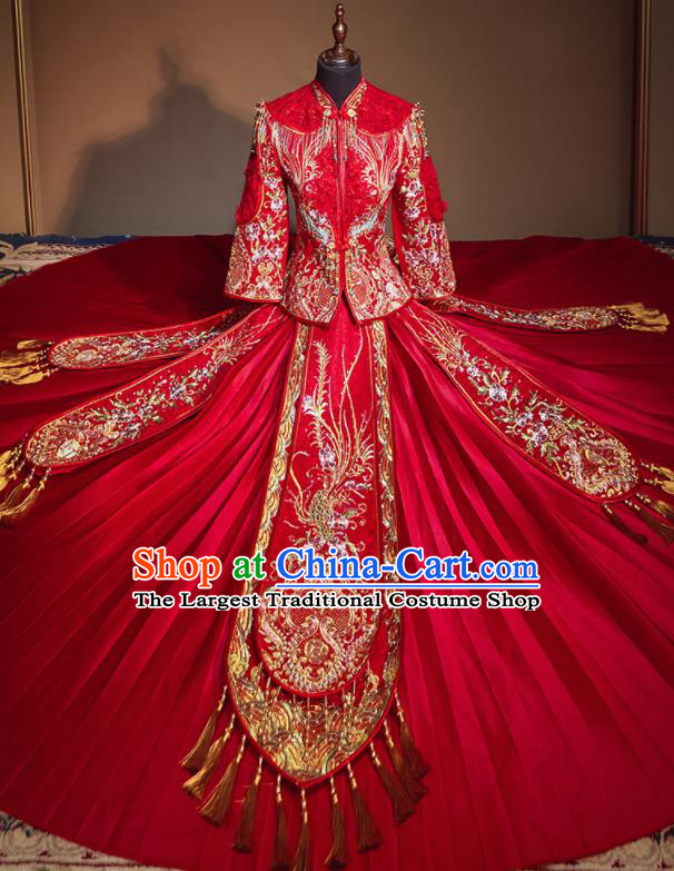 Chinese Traditional Wedding Drilling Phoenix Xiu He Suit Embroidered Red Dress Ancient Bride Costumes for Women