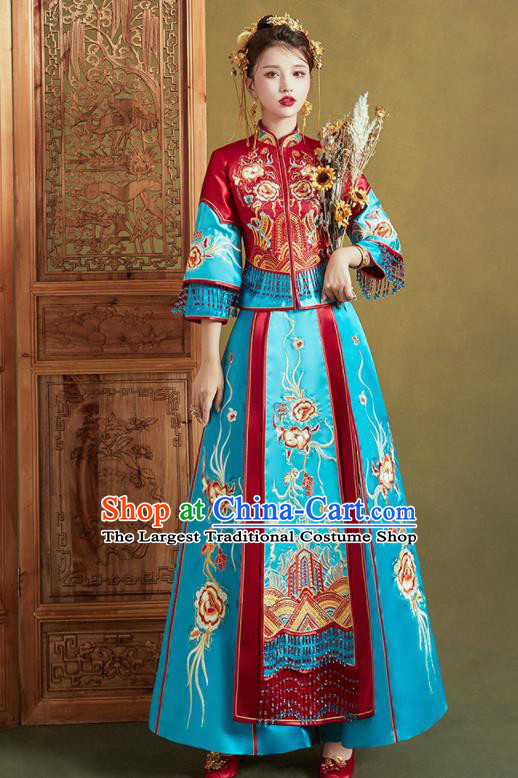 Chinese Traditional Wedding Xiu He Suit Embroidered Blue Dress Ancient Bride Costumes for Women