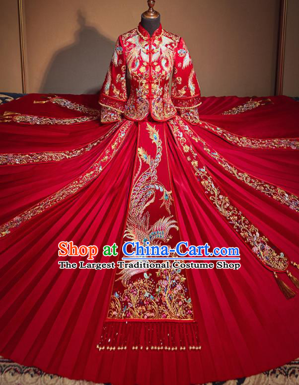 Chinese Traditional Wedding Xiu He Suit Embroidered Phoenix Jacket and Dress Ancient Bride Costumes for Women