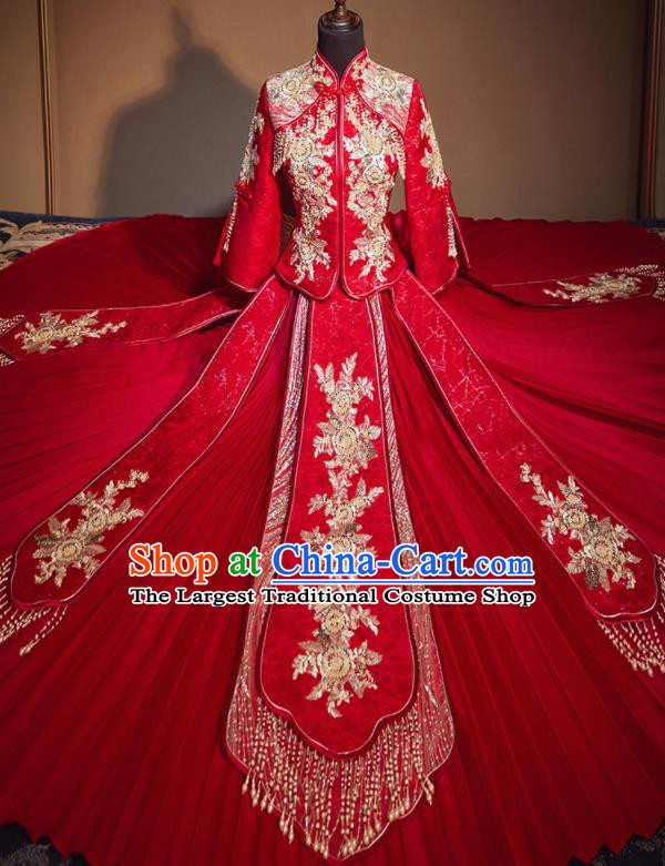Chinese Traditional Wedding Xiu He Suit Embroidered Flowers Red Jacket and Dress Ancient Bride Costumes for Women