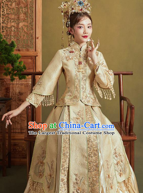 Chinese Traditional Wedding Xiu He Suit Embroidered Light Golden Jacket and Dress Ancient Bride Costumes for Women