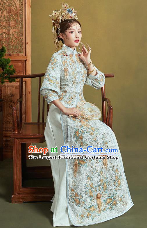 Chinese Traditional Wedding Xiu He Suit Embroidered Light Blue Jacket and Dress Ancient Bride Costumes for Women