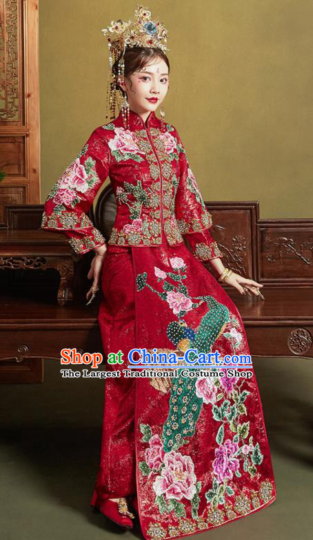 Chinese Traditional Wedding Xiu He Suit Embroidered Peacock Peony Red Blouse and Dress Ancient Bride Costumes for Women