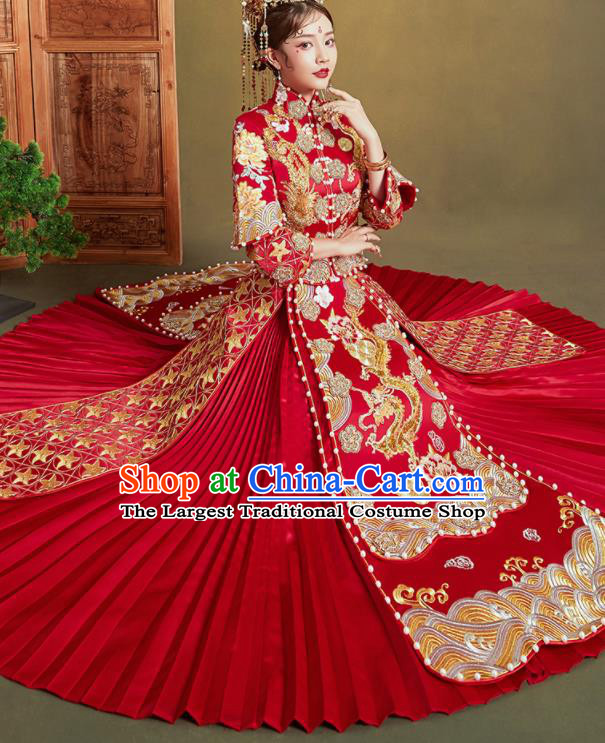 Chinese Traditional Wedding Xiu He Suit Embroidered Dragon Peony Red Blouse and Dress Ancient Bride Costumes for Women