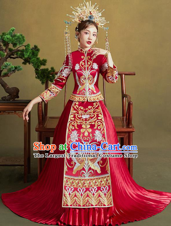Chinese Traditional Wedding Xiu He Suit Embroidered Swan Peony Red Blouse and Dress Ancient Bride Costumes for Women