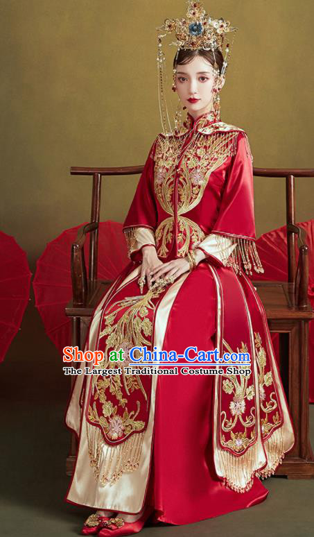 Chinese Traditional Wedding Embroidered Xiu He Suit Red Blouse and Dress Ancient Bride Costumes for Women
