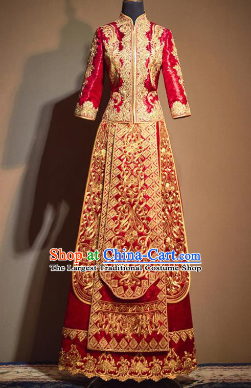 Chinese Traditional Wedding Embroidered Flowers Xiu He Suit Red Blouse and Dress Ancient Bride Costumes for Women