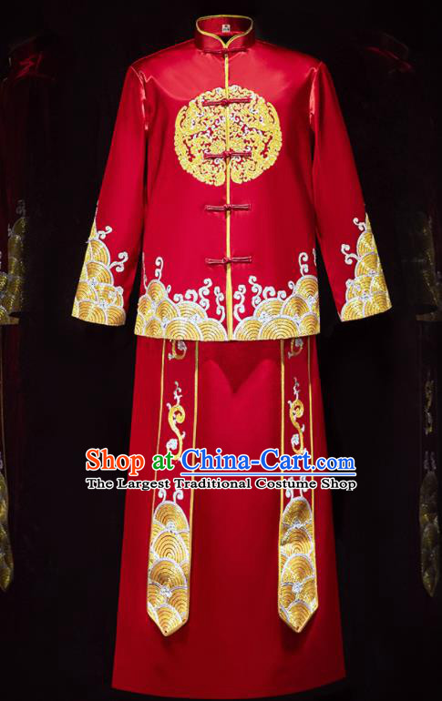 Chinese Ancient Bridegroom Embroidered Red Mandarin Jacket and Long Gown Traditional Wedding Tang Suit Costumes for Men