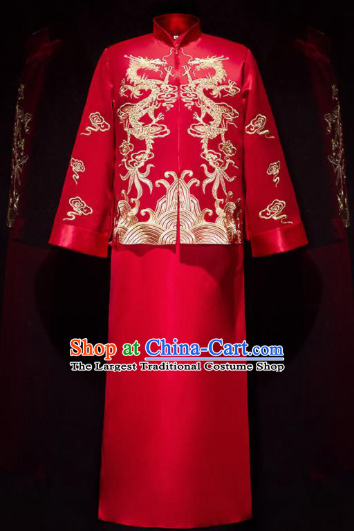 Chinese Ancient Bridegroom Embroidered Dragons Red Mandarin Jacket and Long Gown Traditional Wedding Tang Suit Costumes for Men
