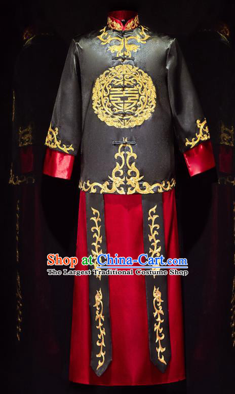 Chinese Ancient Bridegroom Embroidered Black Mandarin Jacket and Long Gown Traditional Wedding Tang Suit Costumes for Men