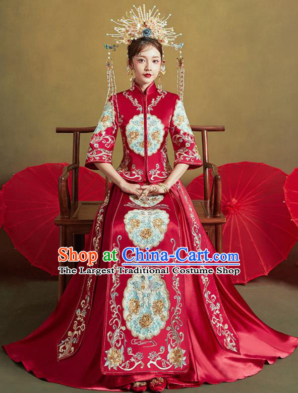 Chinese Traditional Wedding Embroidered Peony Xiu He Suit Red Blouse and Dress Ancient Bride Costumes for Women