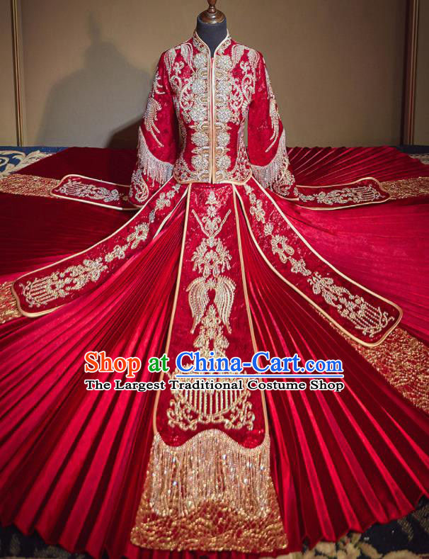 Chinese Traditional Wedding Embroidered Drilling Xiu He Suit Red Blouse and Dress Ancient Bride Costumes for Women