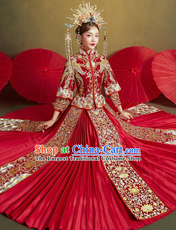 Chinese Traditional Wedding Embroidered Phoenix Lotus Xiu He Suit Red Blouse and Dress Ancient Bride Costumes for Women
