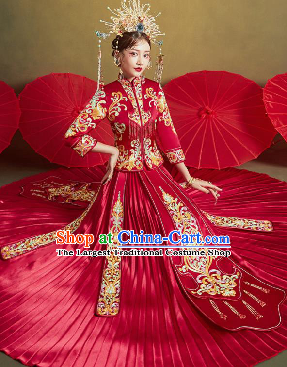 Chinese Traditional Wedding Embroidered Tassel Xiu He Suit Red Blouse and Dress Ancient Bride Costumes for Women