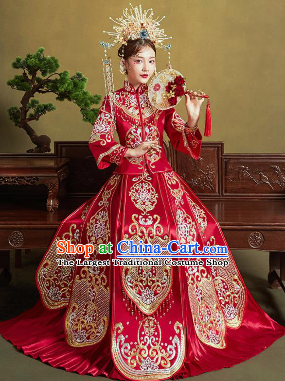 Chinese Traditional Embroidered Peony Wedding Xiu He Suit Red Blouse and Dress Ancient Bride Costumes for Women