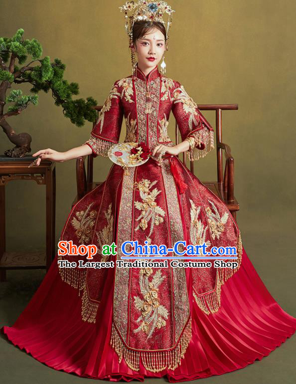 Chinese Traditional Wedding Drilling Xiu He Suit Embroidered Wine Red Blouse and Dress Ancient Bride Costumes for Women