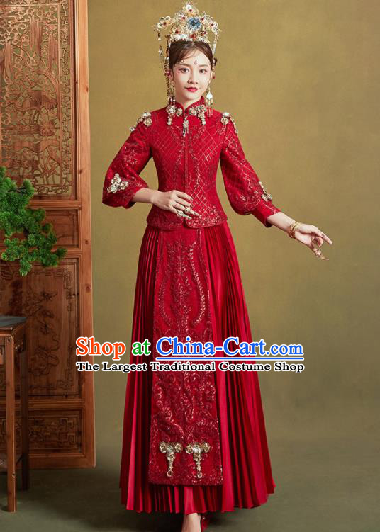 Chinese Traditional Embroidered Wedding Trailing Xiu He Suit Red Blouse and Dress Ancient Bride Costumes for Women