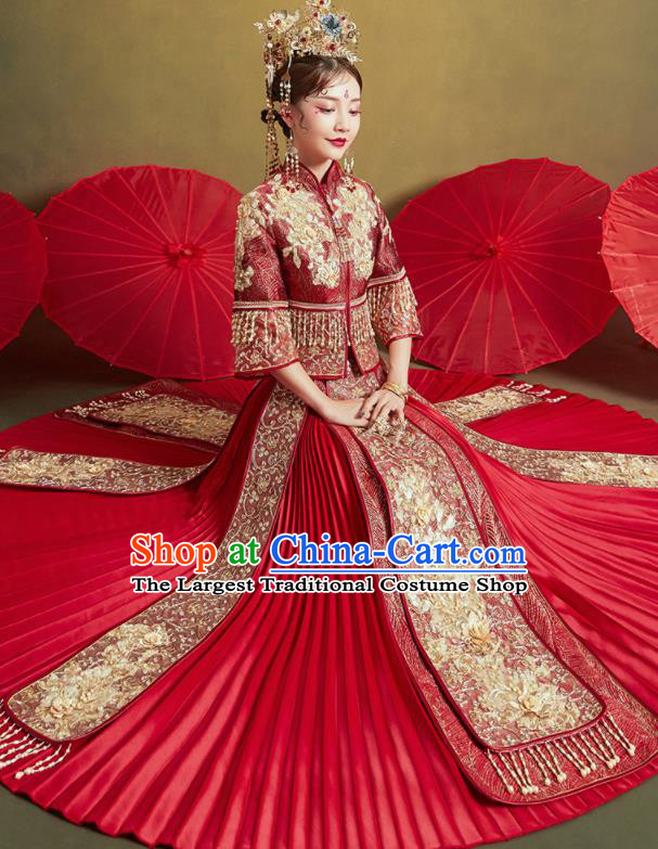 Chinese Traditional Wedding Drilling Xiu He Suit Embroidered Flowers Wine Red Blouse and Dress Ancient Bride Costumes for Women